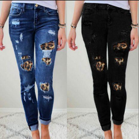 fashion leopard print patch elastic tight pencil pants NHWA278669's discount tags