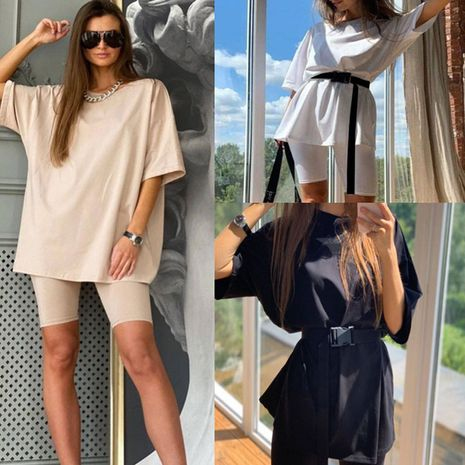 new fashion loose solid color round neck casual two-piece suit NHWA278668's discount tags