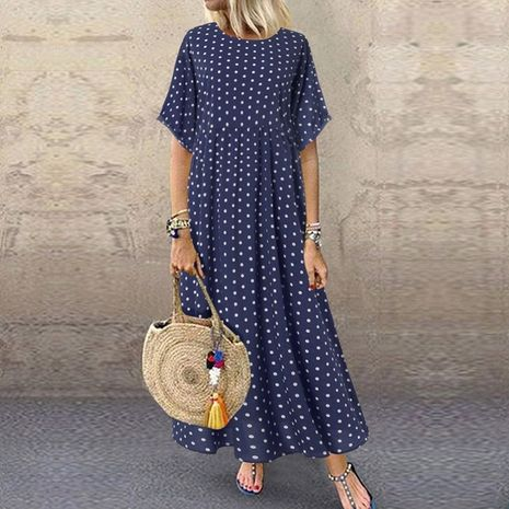 plus size women's bohemian long skirt short sleeve polka dot dress NHIS278241's discount tags