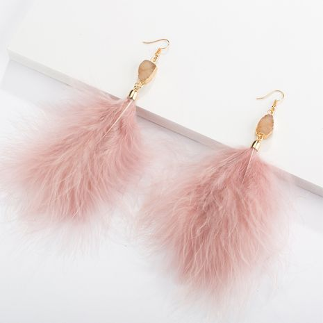 fashion exaggerated feather plush earrings NHQC277618's discount tags