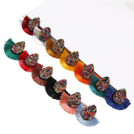 fashion bohemian rice beads drop-shaped tassel earrings NHQC277615's discount tags