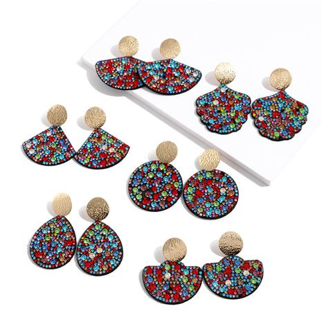 geometric round diamond fan-shaped earrings NHQC277616's discount tags