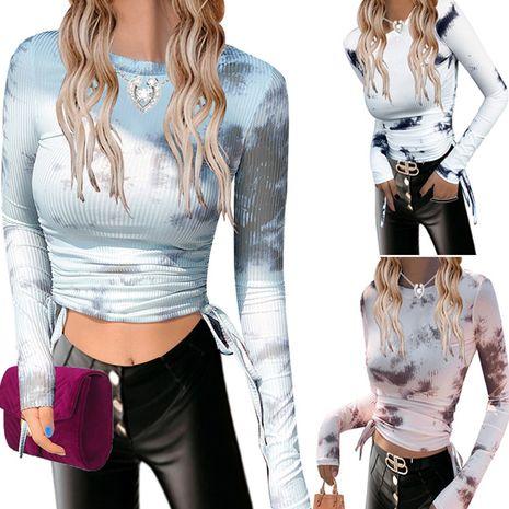 Women's Long Sleeve Round Neck Drawstring Slim short T-shirt NHUO278675's discount tags