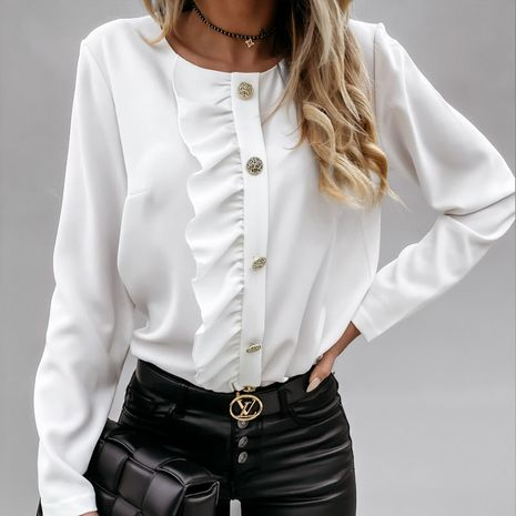 long-sleeved ruffled button ladies shirt  NHJC278208's discount tags