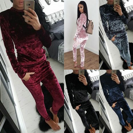 Autumn and winter casual fashion velvet sports suit NHJC278677's discount tags
