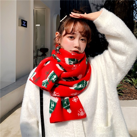 Christmas knitted wool gloves scarf NHCM285295's discount tags