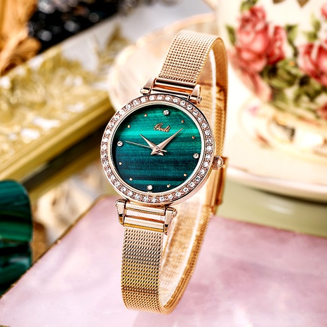mesh strap fashion diamond round small waterproof quartz watch  NHSR285306's discount tags