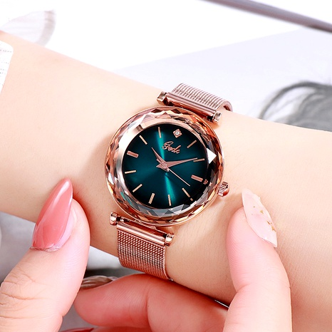 mesh strap fashion waterproof polygonal angular mirror quartz watch NHSR285355's discount tags