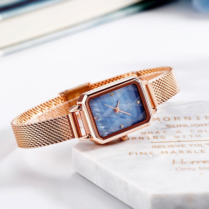 mesh strap retro square rhinestone quartz waterproof watch  NHSR285365