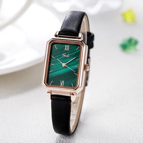 Montre étanche à la mode avec cadran rectangulaire vert malachite NHSR285375's discount tags