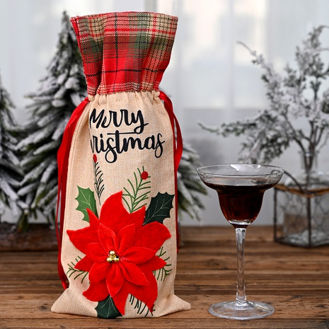 Christmas Ornaments Red Flower Linen Wine Bottle Bag  NHHB285396's discount tags