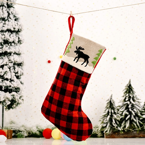 Christmas Decoration Red and Black Plaid Elk Stocking  NHHB285399's discount tags