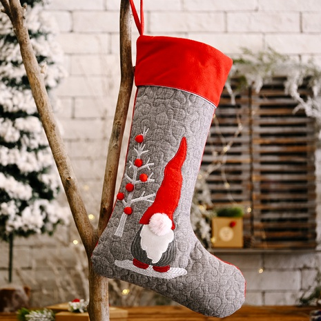 Christmas Decorations Red Grey Faceless Doll Christmas Socks Big Pendant NHHB285404's discount tags