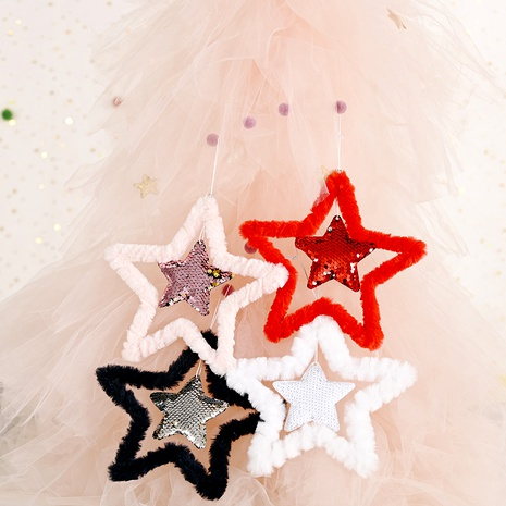 Christmas decoration fluffy sequined five-pointed star pendant  NHHB285413's discount tags