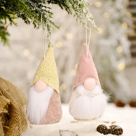 Christmas decorations wooden round bottom faceless doll pendant NHHB285414's discount tags