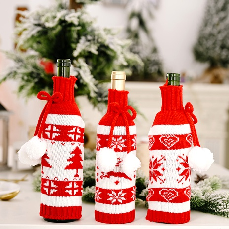 Christmas knitted double ball wine bottle cover  NHHB285416's discount tags