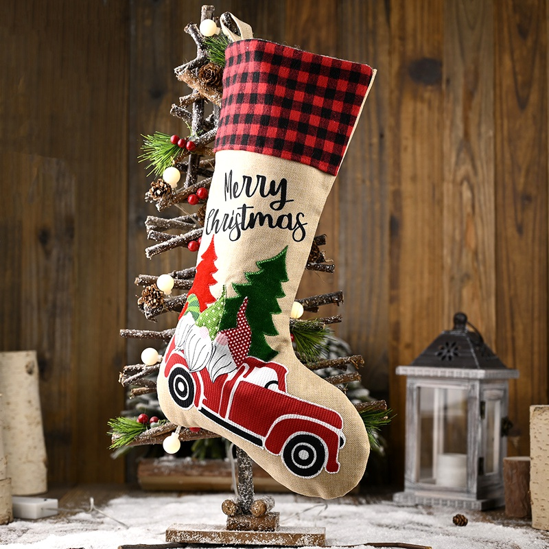 Christmas decorations linen lattice socks gift bag NHHB285418