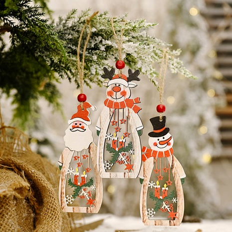 Christmas tree ornaments wooden hollow deer pendant NHHB285423's discount tags