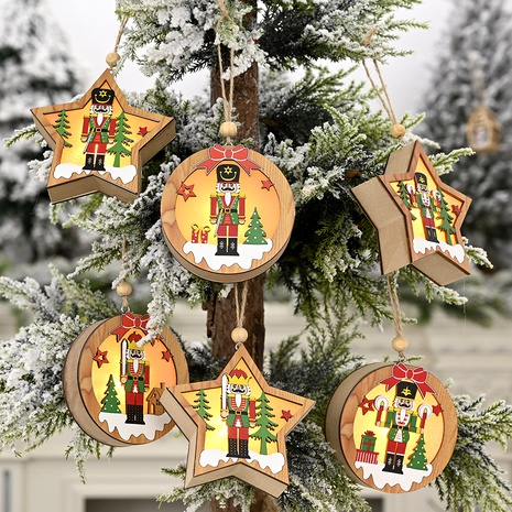 Christmas Ornament Wooden Walnut Soldier Pendant  NHHB285424's discount tags