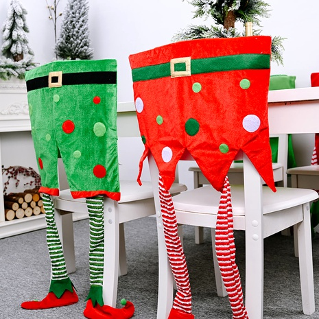 Christmas Decoration Elf Hanging Leg Red Green Chair Cover NHHB285426's discount tags