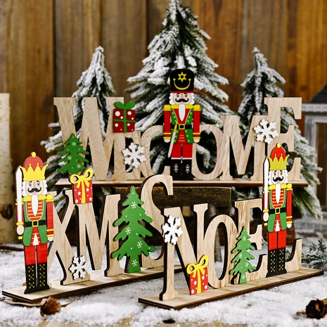Christmas Wooden Walnut Soldier Letter Decorations NHHB285427's discount tags