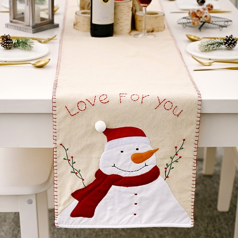 Christmas decoration snowman linen embroidery tablecloth  NHHB285428's discount tags