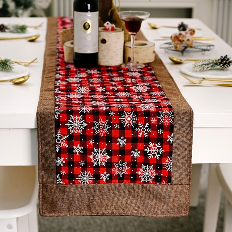 Christmas decorations snowflake red and black lattice tablecloth  NHHB285429's discount tags