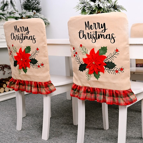Christmas decorations red flower linen chair cover  NHHB285435's discount tags