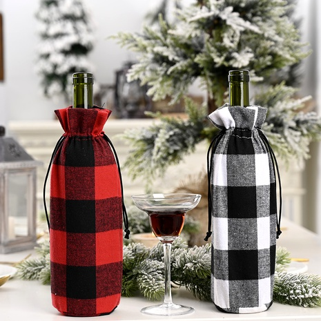 Christmas decorations red and black large lattice wine bottle cover NHHB285440's discount tags