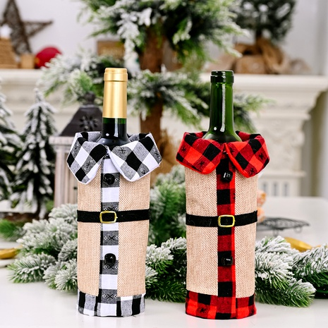 Christmas Decorations Linen Bells Lapel Wine Bottle Cover  NHHB285444's discount tags