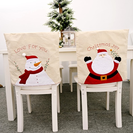 Christmas Decorations Embroidery Linen Snowman Chair Cover  NHHB285445's discount tags