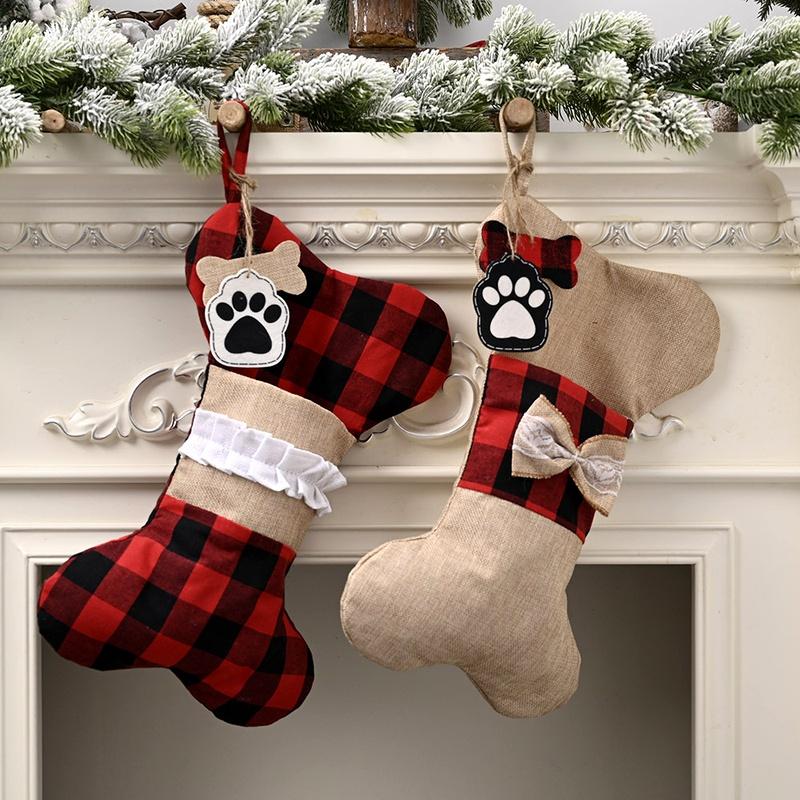 Christmas Decorations Linen Lattice Bone Socks Pendant Candy Bag  NHHB285448
