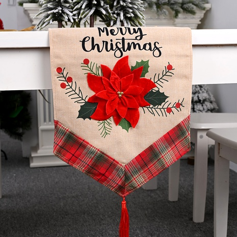 Christmas decorations red flower linen table cloth  NHHB285451's discount tags