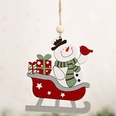 NHHB1280162-Snowman-with-ski-car-wooden-pendant