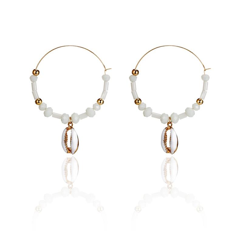 bohemian natural sea shell alloy round earrings  NHGY285646
