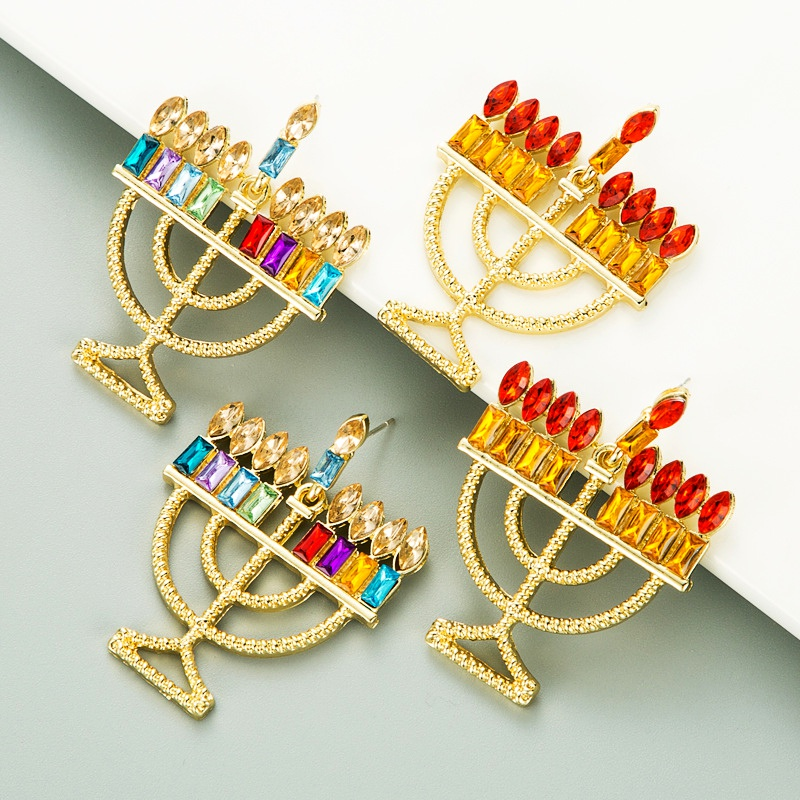 retro alloy colorful rhinestone candle holder shape earrings NHLN285599