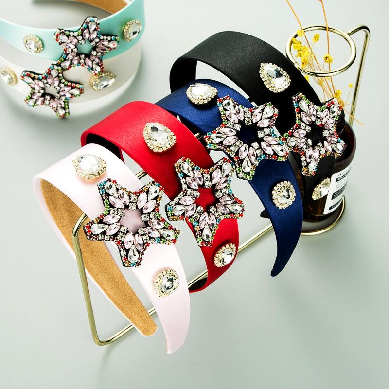 retro baroque alloy inlaid glass diamonds five-pointed star headband NHLN285600