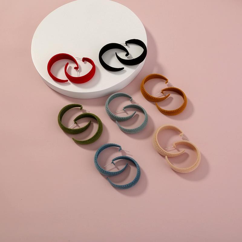retro suede C-shaped earrings  NHAN285608