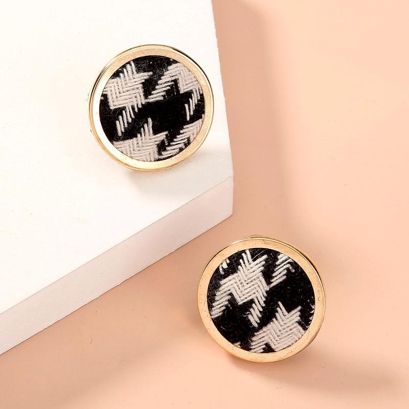 houndstooth pattern fabric buckle earrings  NHAN285610