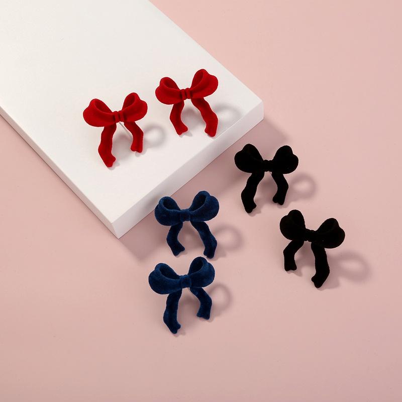 fashion retro suede bow stud earrings NHAN285611