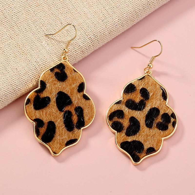 leopard print fashion earrings  NHAN285617