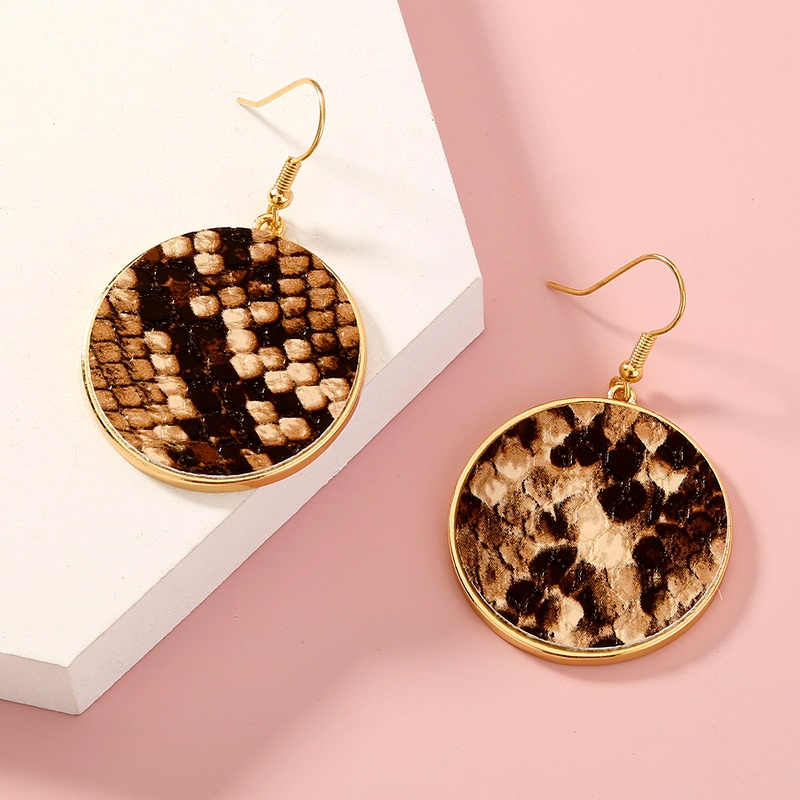 fashion leopard print round earrings NHAN285618
