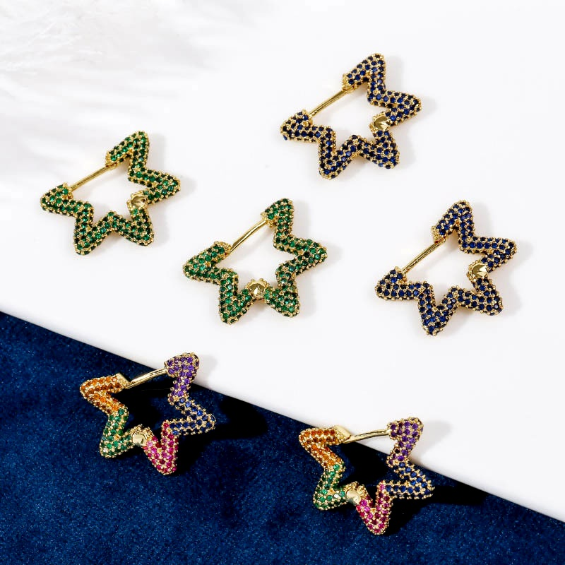 Exquisite fashion copper inlaid zirconium simple star earrings  NHLA285625