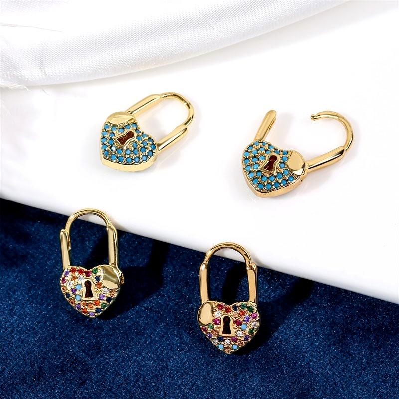 cute copper inlaid zirconium exquisite heart earrings NHLA285626