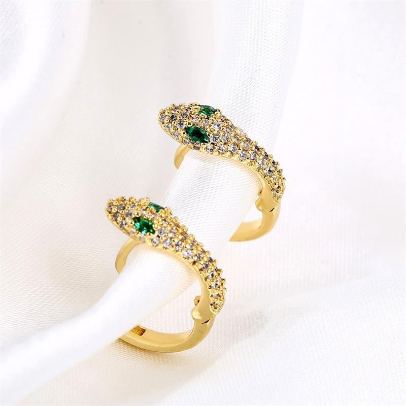 simple fashion copper inlaid zirconium snake-shaped earrings NHLA285621