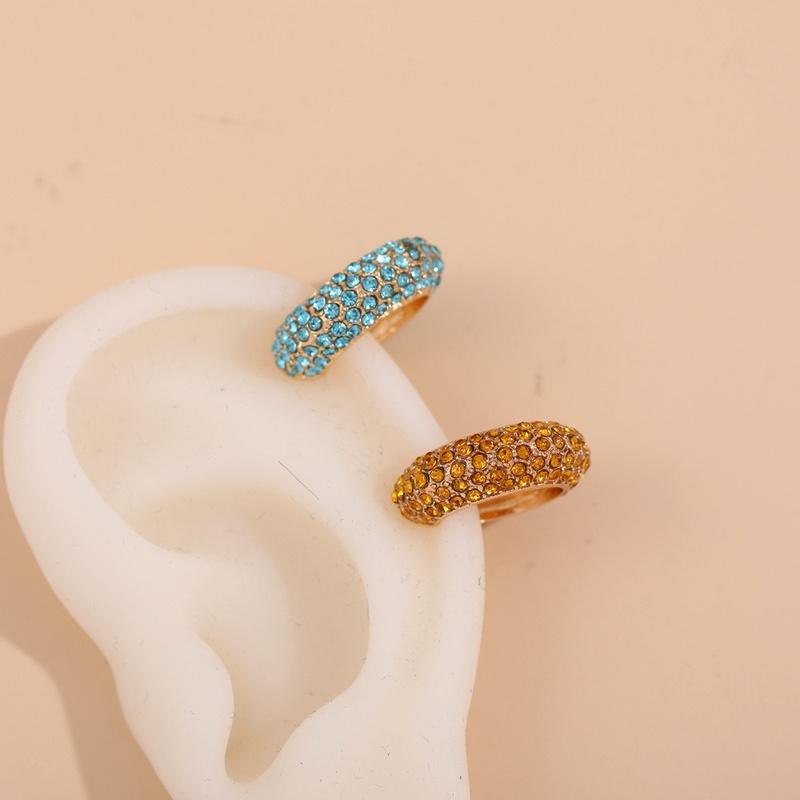 C-shaped fashionable zircon alloy full diamond ear clip set NHLL285629