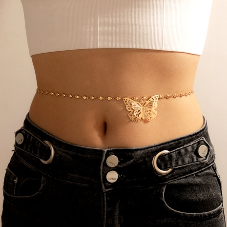 Bohemian alloy double-layer butterfly hollow waist chain  NHGY285699's discount tags