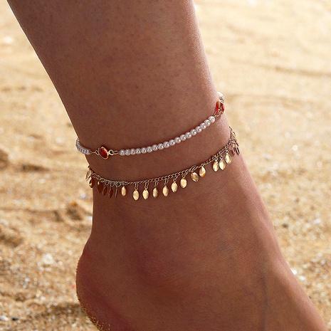 Böhmische Rubin Blattgold Quaste zweischichtige Perlen Blatt Quaste Fußkettchen NHGY285702's discount tags