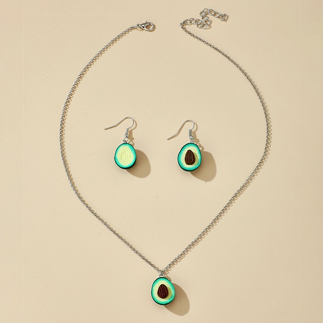 Korean kawaii avocado earrings pendant necklace set NHGY285721's discount tags