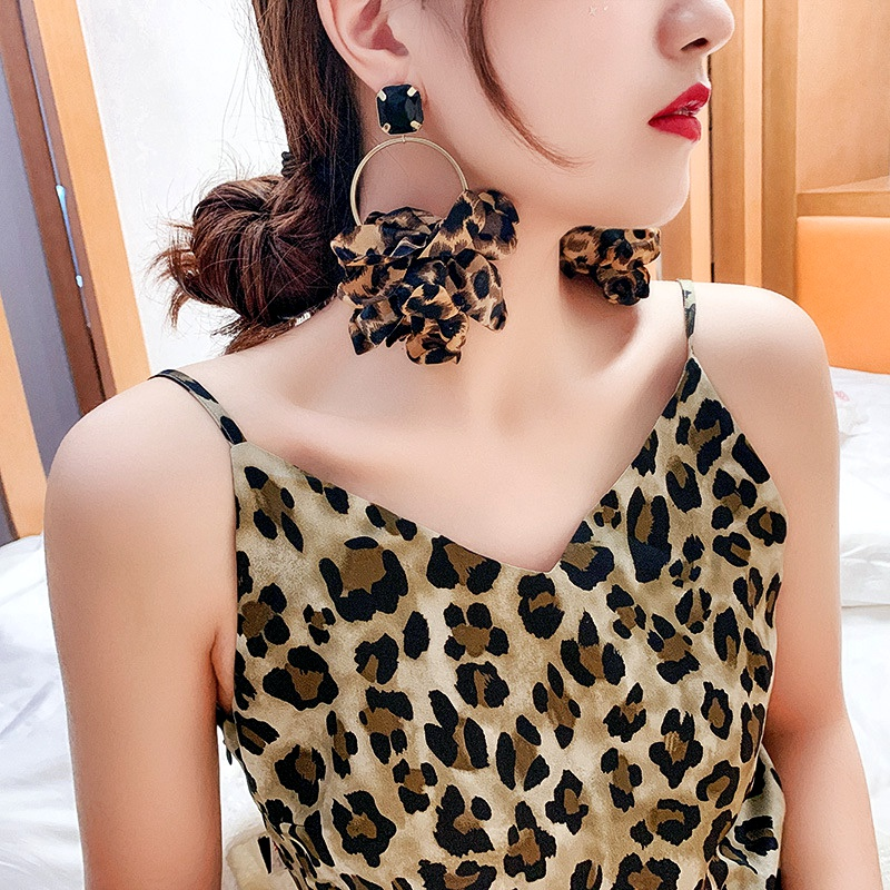 925 silver needle leopard print earrings exaggerated big earrings fabric earrings NHQC285637